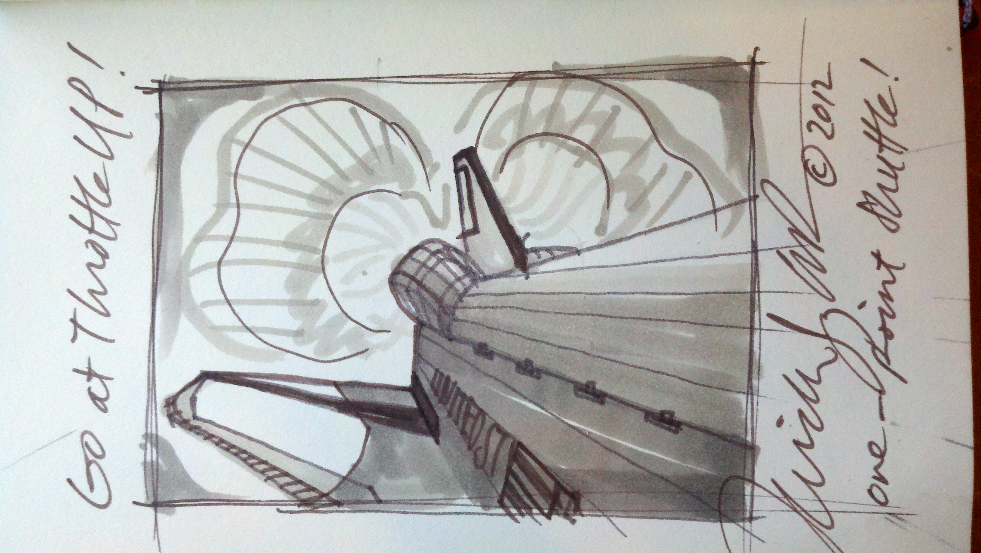 space shuttle - DRAWING - go at throttle up